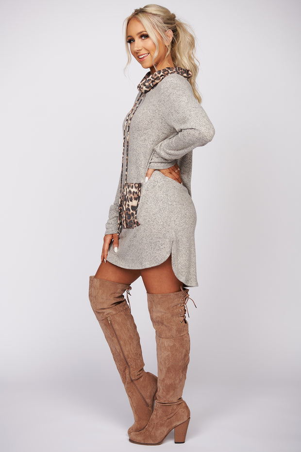 Take You Away Leopard Print Knit Sweater (Taupe)