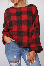Holiday Nights Buffalo Plaid Top (Red/Black)
