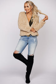 Worlds Away Faux Fur Jacket (Taupe)