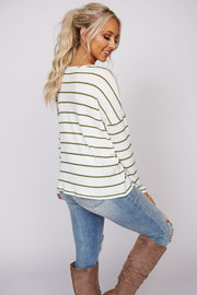 Lucky Or Not Striped Waffle Knit Long Sleeve Top (White/Olive) - NanaMacs