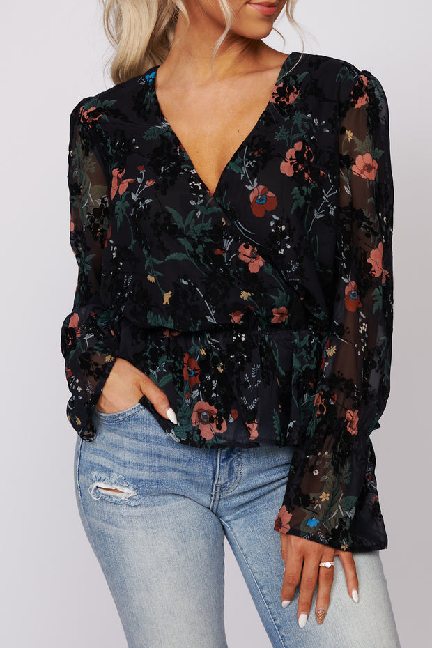 Garden Views Floral Peplum Top (Black/Multi)