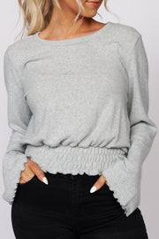 Hardest To Love Bell Sleeve Crop Top (Light Mint) - NanaMacs