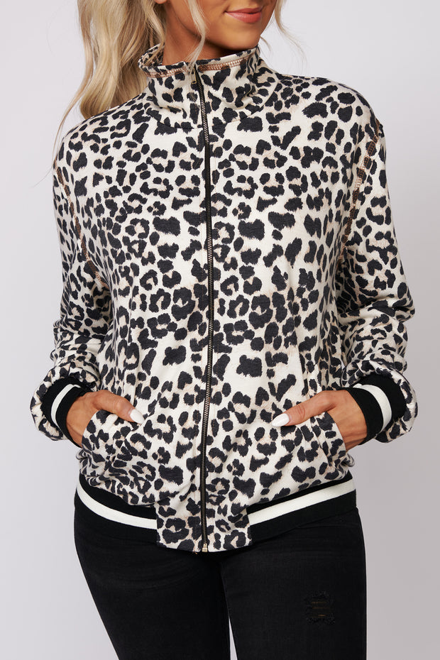 Wild Days Ahead Leopard Print Zip Up Jacket (Natural Animal) - NanaMacs