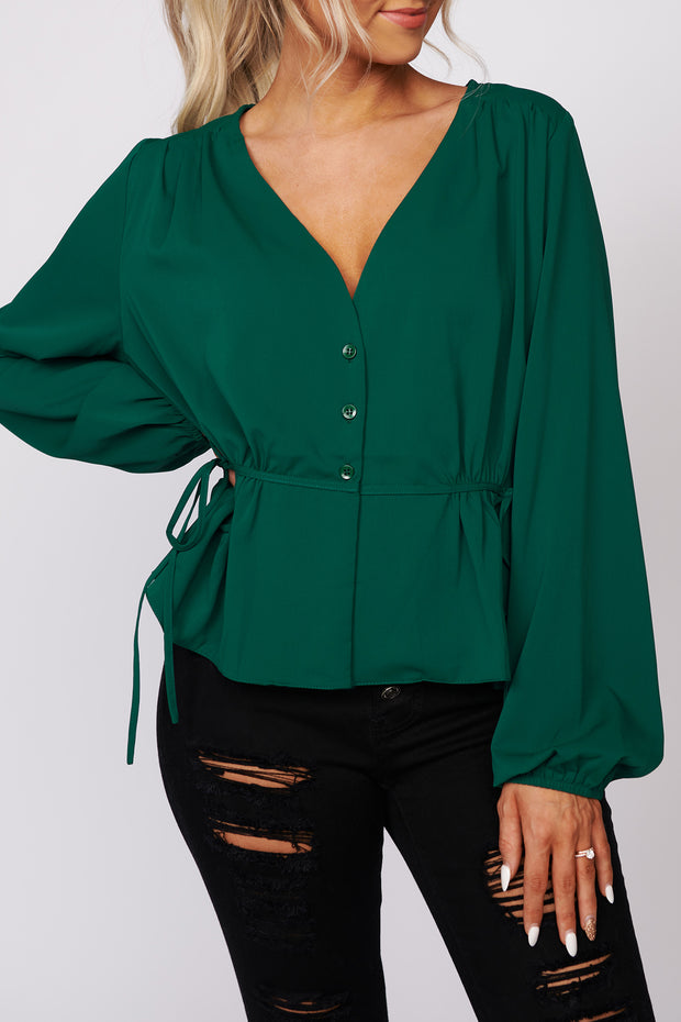 Bottom Of Your Heart Long Sleeve Top (Green)