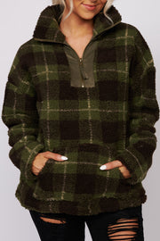 Have You Near Plaid Sherpa Pullover (Olive) - NanaMacs