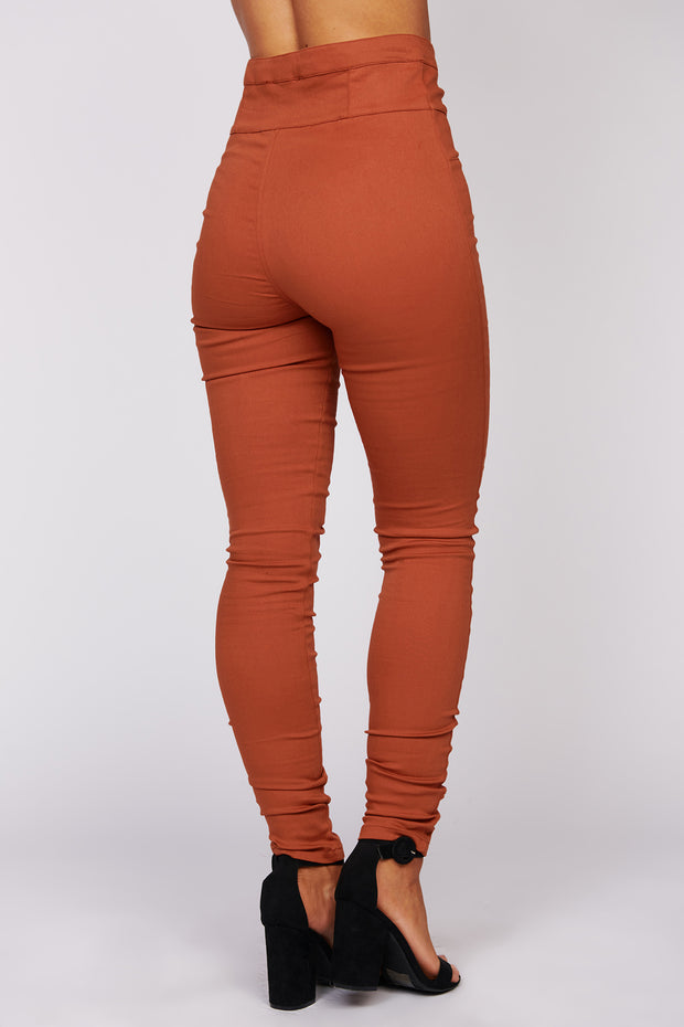 Give It Your All High Waisted Fitted Pants (Light Rust) - NanaMacs