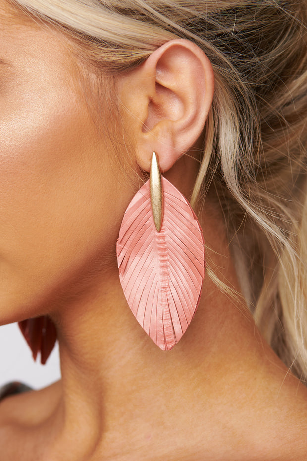 Not Going Home Feather Earrings (Peach)