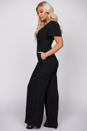 Find Me Where The Wild Things Are Polka Dot Jumpsuit (Black) - NanaMacs