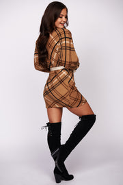 Take It To Heart Plaid Dolman Sleeve Dress (Multi)