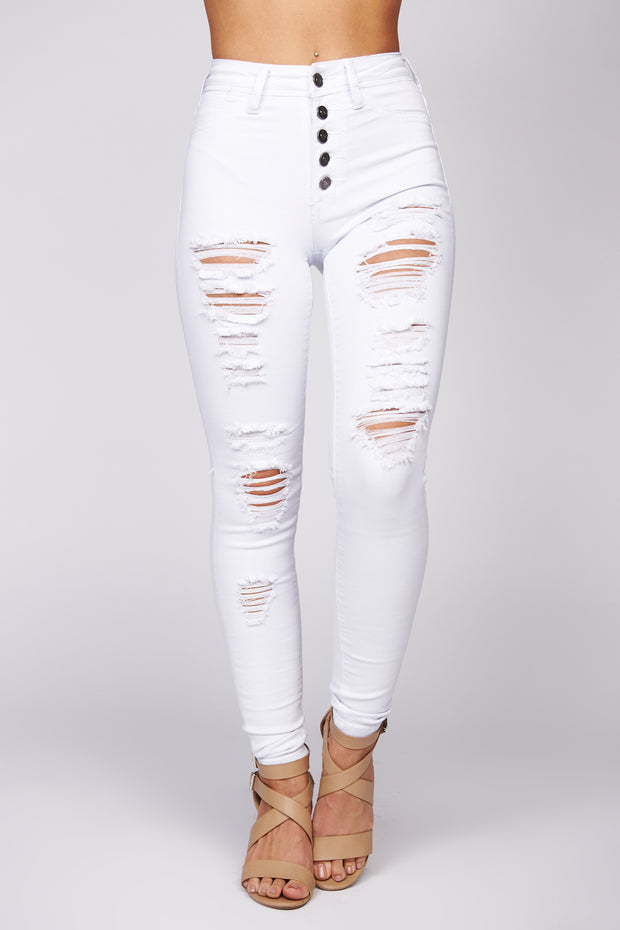 Cool Like You Distressed Button Up Skinny Jeans (White) - NanaMacs