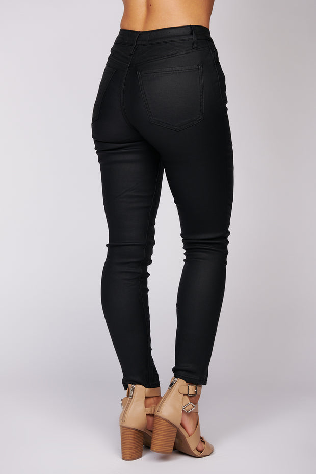 After Midnight High Waisted Leather Pants (Black)