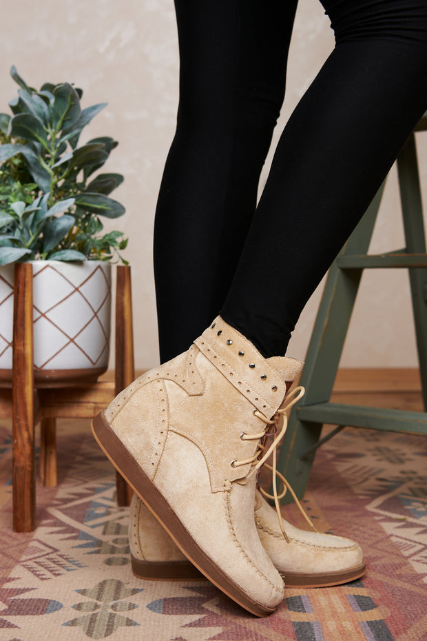 We've Come So Far Faux Suede Lace Up Booties (Cream)