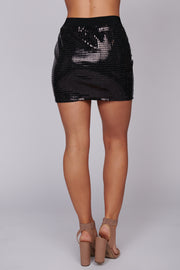 Sound Of The Bell Sequin Skirt (Black) - NanaMacs