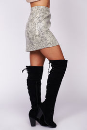 Join The Party Snake Skin Mini Skirt (Grey/Multi) - NanaMacs