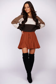 By The Bonfire Hooded Cropped Sweater (Brown Multi) - NanaMacs