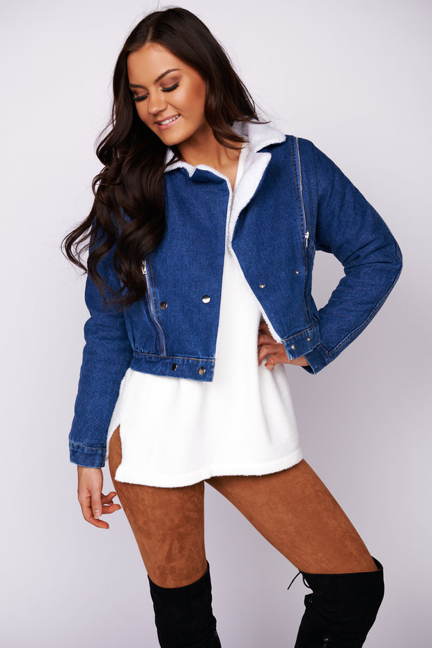 Leave It All Behind Sherpa Denim Jacket (Denim) - NanaMacs