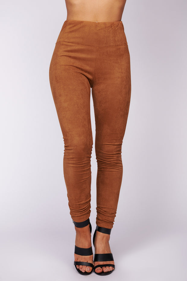 Showing Me Off Faux Suede Pants (Camel)