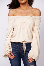 Make Your Choice Long Sleeve Blouse (Sand)