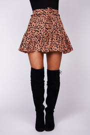 Shape Up Geometric Ruffle Mini Skort (Brown) - NanaMacs