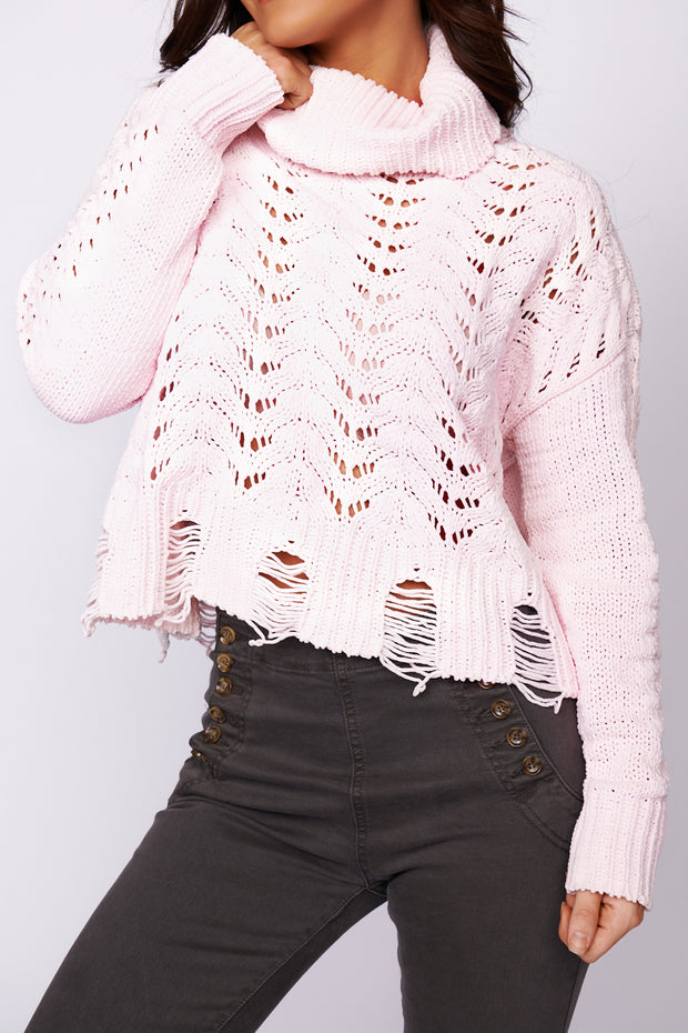 The One You Want Distressed Turtleneck Sweater (Light Pink)