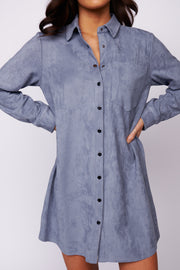Keep It Sassy Shirt Dress (Stone Wash)