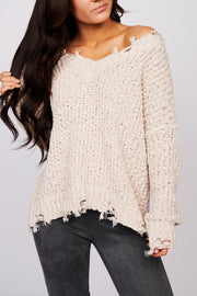 Above The Clouds Distressed Sweater (Beige)