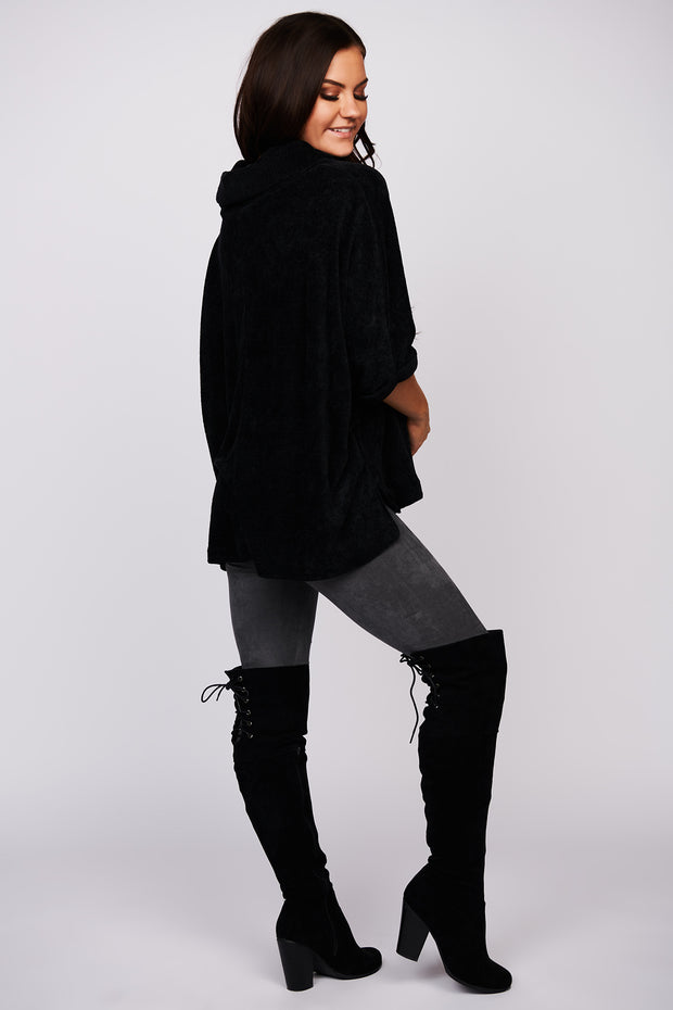 This Is It Chenille Turtle Neck Sweater (Black)