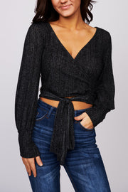 Cut Them Off Bubble Sleeve Top (Black)