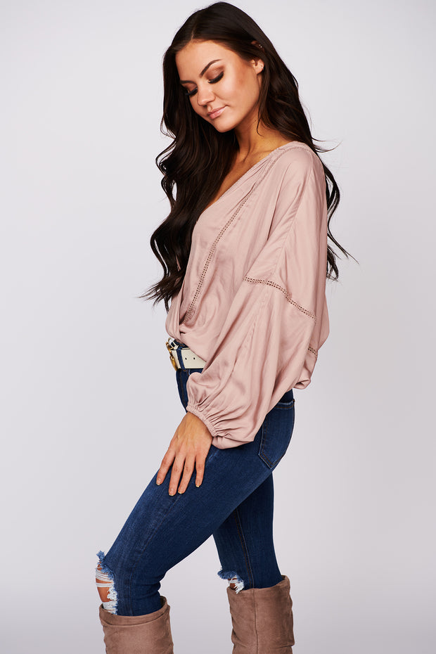 Spread Joy Dolman Surplice Top (Mink)