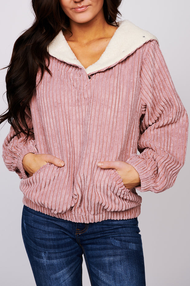 Gotta Move On Ribbed Pullover (Dusty Pink) - NanaMacs