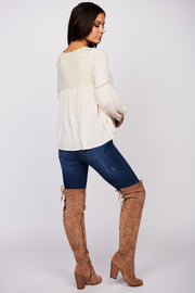 Let The Music Play Bubble Sleeve Blouse (Cream)