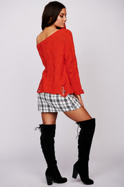 Whatever We'll Be Distressed Knit Top (Coral) - NanaMacs