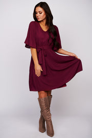 Closer To Me Flutter Sleeve Dress (Burgundy) - NanaMacs