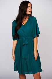 Closer To Me Flutter Sleeve Dress (Teal)