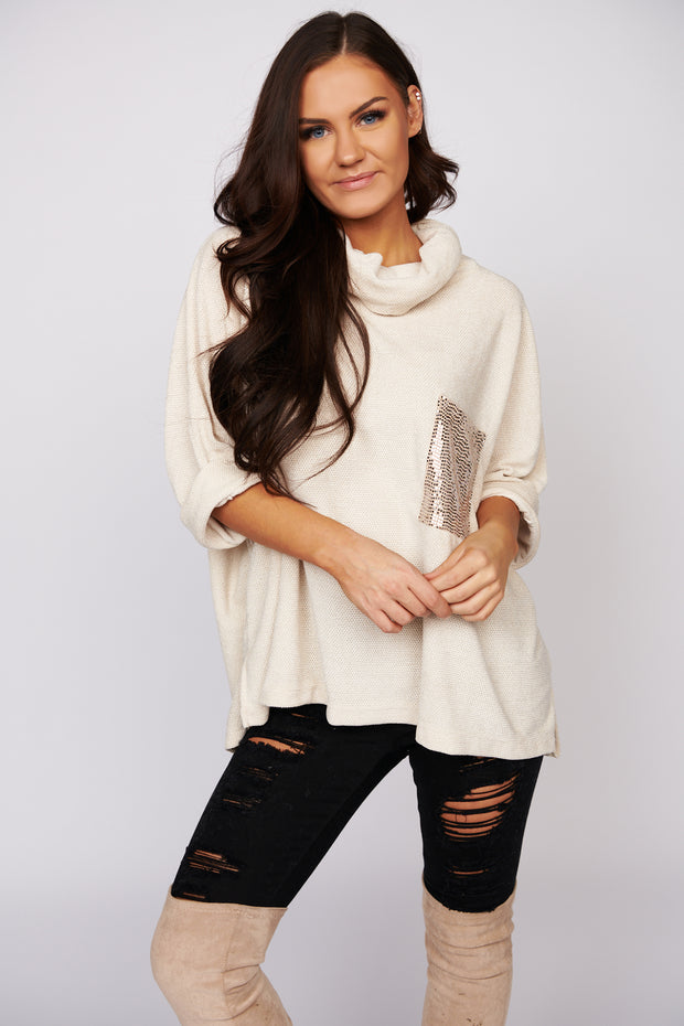 This Is It Chenille Turtle Neck Sweater (Ivory)