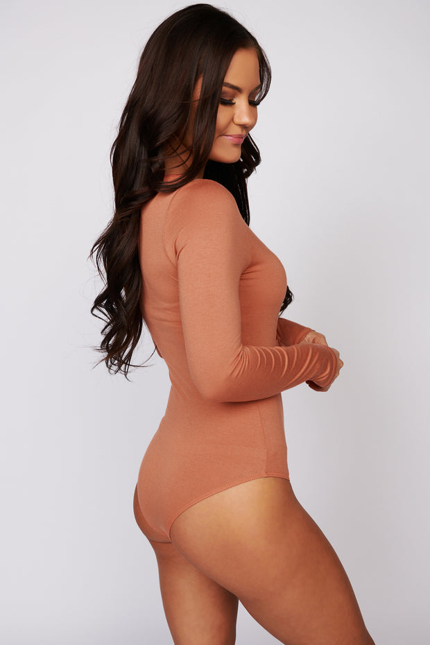 One More Look Long Sleeve Bodysuit (Terracotta)