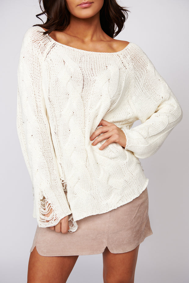 Whatever We'll Be Distressed Knit Top (Ivory)