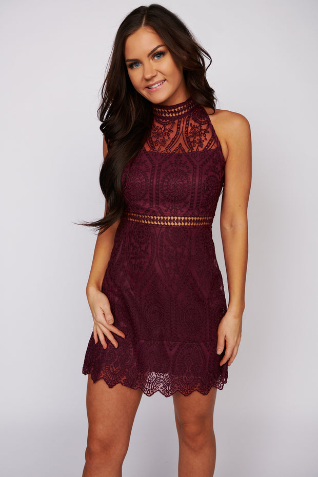Make My Night Sleeveless Lace Dress (Burgundy) - NanaMacs