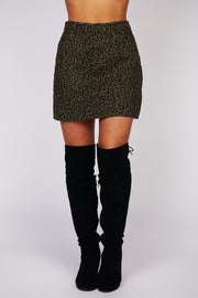 Feeling Lucky Leopard Print Mini Skirt (Olive) - NanaMacs