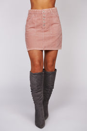 Storybook Lovers Corduroy Skirt (Dusty Pink)