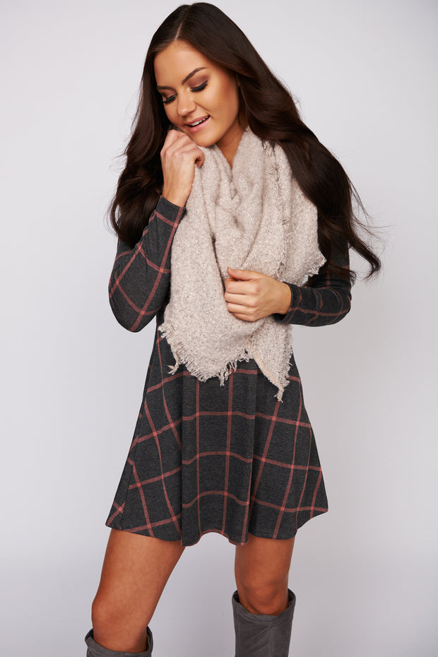 Something About It Long Sleeve Plaid Dress (Charcoal/Mauve)