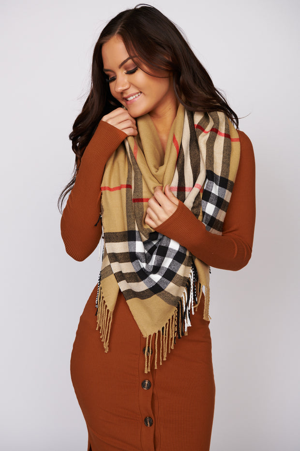 Pull You Close Plaid Fringe Blanket Scarf (Taupe)