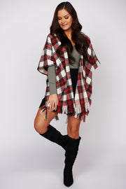 Let's Fly Away Plaid Fringe Poncho (Cream/Red)