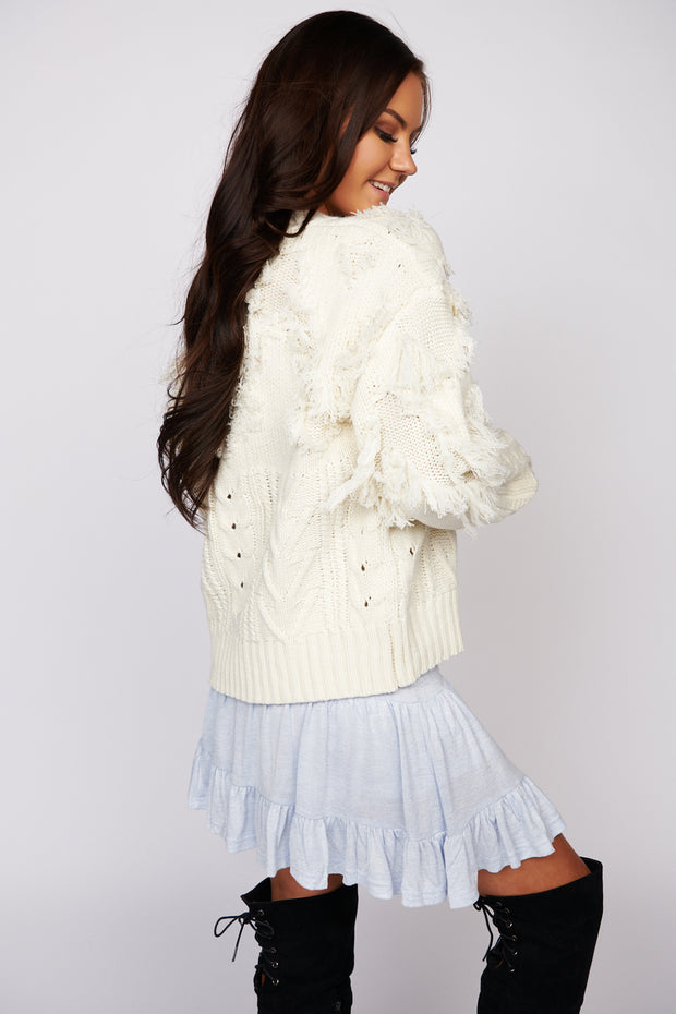 Turning It Up Fringe Sweater (Cream) - NanaMacs