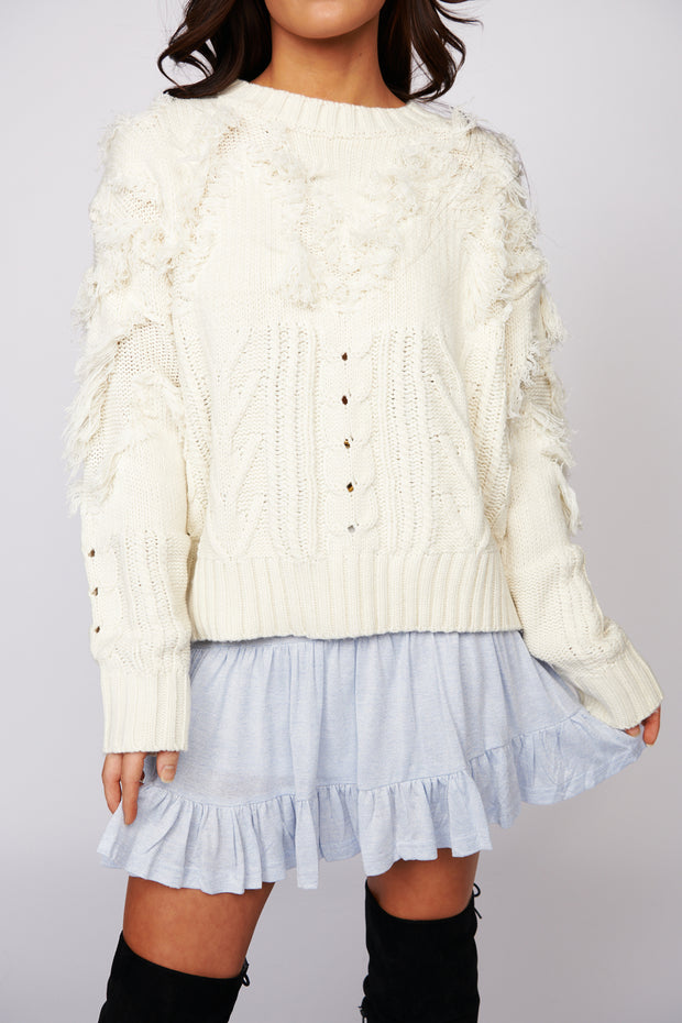 Turning It Up Fringe Sweater (Cream)