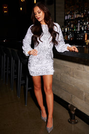 Can't Forget Me Sequin Mini Dress (Silver)