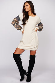 Angels Surround Me Leopard Print Dress (Ivory)