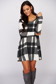 Can I Call You Plaid Long Sleeve Dress (Black)