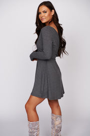 Moonlight Dance Long Sleeve Ribbed Dress (Heather Charcoal)