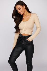 Love Ties Ribbed Crop Top (Tan) - NanaMacs